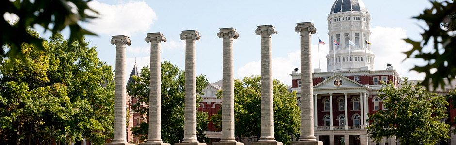 Mizzou Columns and Jesse Hall